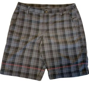 Mens Lululemon Flat Front Shorts Gray Plaid